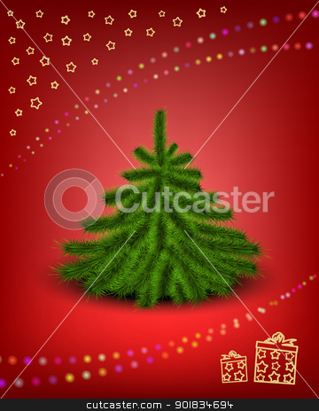 Christmas card stock photo, Little fluffy Christmas tree on snowy background with garland and gift sign. EPS 10. Used effect opasity mask of garland and transparency layers of snowflake by Imaster