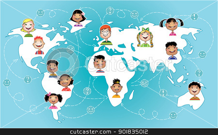 Kids connected worldwide stock vector clipart, Vector illustration of children of different nations connecting worldwide by Vanda Grigorovic