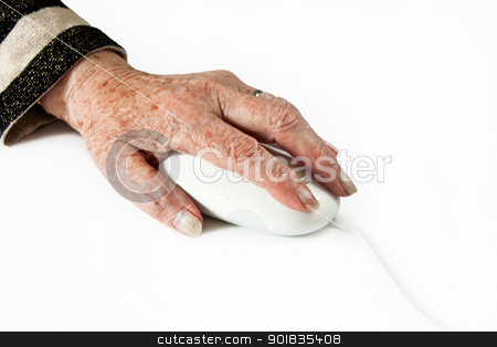 Elderly Hand on Computer Mouse stock photo, Elderly Hand on Computer Mouse on light plain background  by Darren Pullman