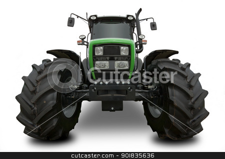 Tractor stock photo, Wide angle shot of New Tractor with large wheels isolated on white background by Darren Pullman