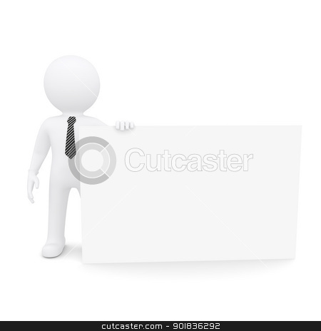 The white man holding a large white card stock photo, The white man holding a large white card. Isolated on white background by cherezoff