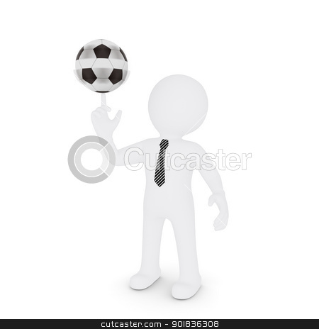 The white man turns on his finger football stock photo, The white man turns on his finger football. Isolated on white background by cherezoff