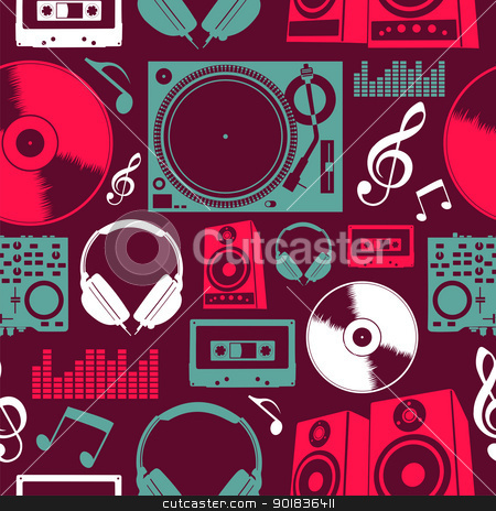 Music icons seamless pattern stock vector clipart, Dj icon set seamless pattern. Vector file layered for easy manipulation and custom coloring. by Cienpies Design