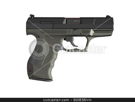 Detailed handgun stock photo, Detailed handgun pistol illustration isolated on white by lkeskinen