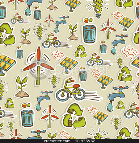 Ecology icons pattern stock vector clipart, Ecology icon set seamless pattern. Vector file layered for easy manipulation and custom coloring. by Cienpies Design