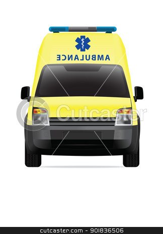 Ambulance car yellow stock photo, Ambulance car vector illustration by lkeskinen