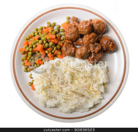 American Supper stock photo, An american supper of mashed potatoes, with sweet and sour meatballs with peas and carrots. by Richard Nelson