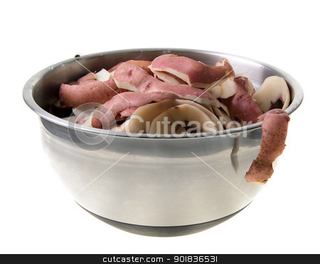 Bowl of Compost stock photo, A bow of compost filled with potatoe peelings, isolated on a white background. by Richard Nelson