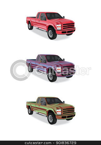 Pick-up trucks in three colors 2 stock vector clipart, Pick-up trucks isolated on white background by lkeskinen
