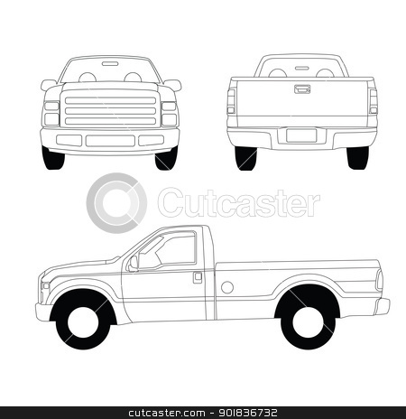 Pick-up truck line illustration stock vector clipart, Pick-up truck line illustration, front, side and rear view by lkeskinen