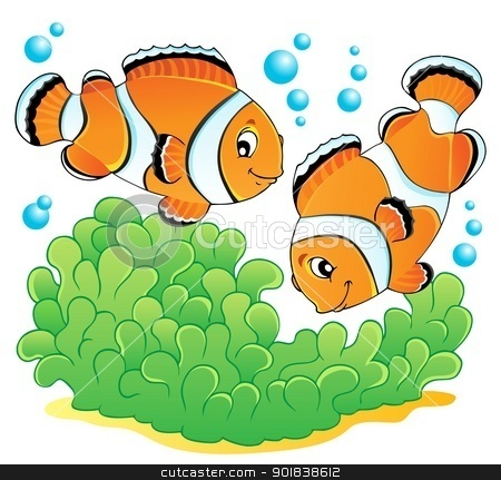 Clown fish theme image 1 stock vector clipart, Clown fish theme image 1 - vector illustration. by Klara Viskova