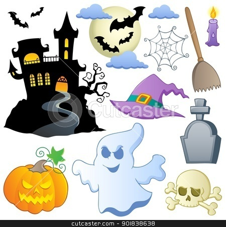 Halloween theme collection 1 stock vector clipart, Halloween theme collection 1 - vector illustration. by Klara Viskova