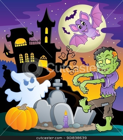Halloween topic scene 1 stock vector clipart, Halloween topic scene 1 - vector illustration. by Klara Viskova