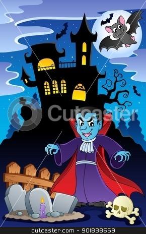 Scene with Halloween theme 6 stock vector clipart, Scene with Halloween theme 6 - vector illustration. by Klara Viskova