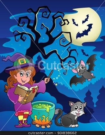 Scene with Halloween theme 9 stock vector clipart, Scene with Halloween theme 9 - vector illustration. by Klara Viskova