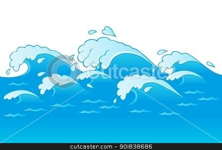 Waves theme image 3 stock vector clipart, Waves theme image 3 - vector illustration. by Klara Viskova