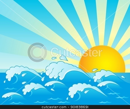 Waves theme image 4 stock vector clipart, Waves theme image 4 - vector illustration. by Klara Viskova