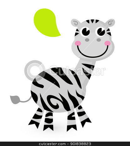 Cute cartoon Zebra isolated on white stock vector clipart, Happy striped Zebra. Vector cartoon Illustration by BEEANDGLOW