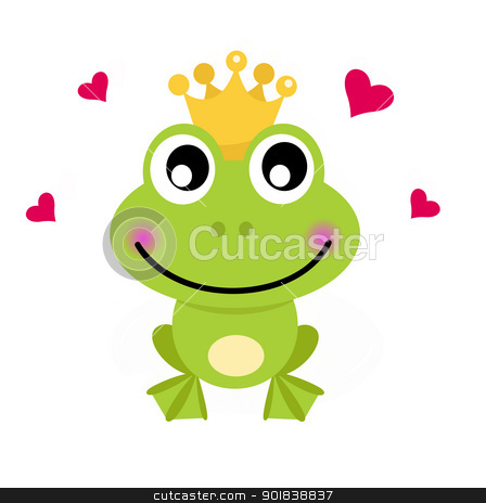 Frog cartoon prince isolated on white stock vector clipart, Frog prince. Vector cartoon illustration by BEEANDGLOW