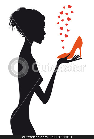 fashion woman with red shoe, vector stock vector clipart, fashion woman with shoe and red hearts, vector illustration by Beata Kraus