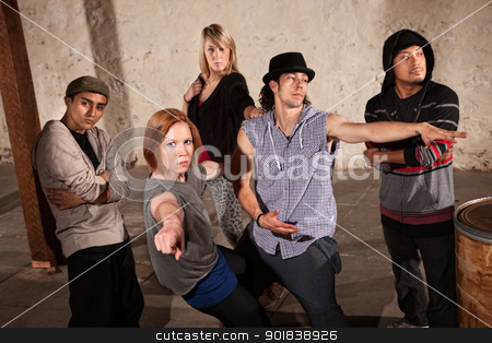 Break Dancing Group stock photo, Cool ethnically diverse break dancers in underground setting by Scott Griessel