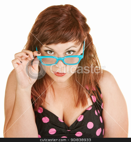 Curious Lady with Glasses stock photo, Curious Caucasian woman holding blue eyeglasses by Scott Griessel