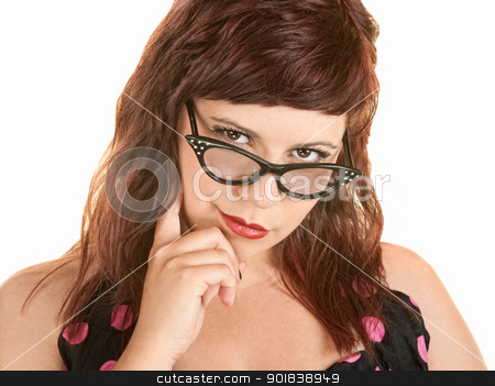 Woman With Finger on Chin stock photo, Cute woman with finger on chin over white by Scott Griessel