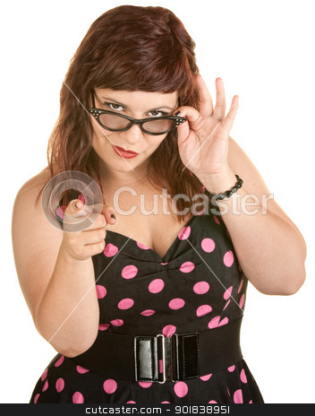 Fashionable Lady With Attitude stock photo, Pretty woman holding eyeglasses and pointing her finger by Scott Griessel