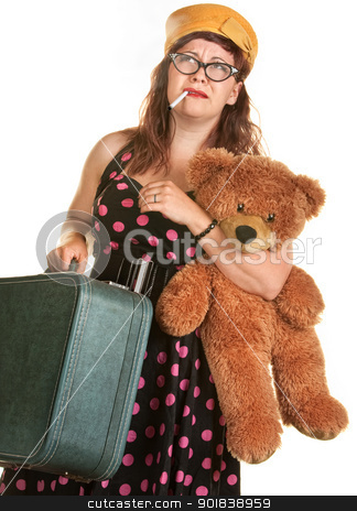 Worried Vintage 1920's Woman stock photo, Worried woman retro pink polka dot fashion with suitcase, bear and cigarette by Scott Griessel
