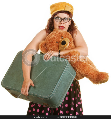Scared Traveling Woman stock photo, Scared woman in retro style dress with suitcase and teddy bear by Scott Griessel