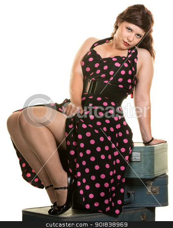 Woman Showing Off Her Legs stock photo, Sexy woman on suitcases showing off her legs by Scott Griessel
