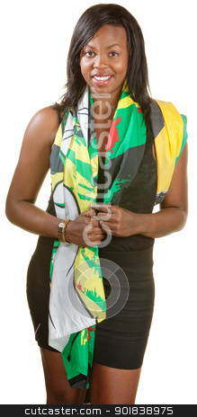Pretty Black Woman in Scarf stock photo, Beautiful young Black woman draped in Jamaican flag by Scott Griessel