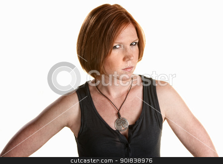 Skeptical Young Woman stock photo, Annoyed red head female over white background by Scott Griessel