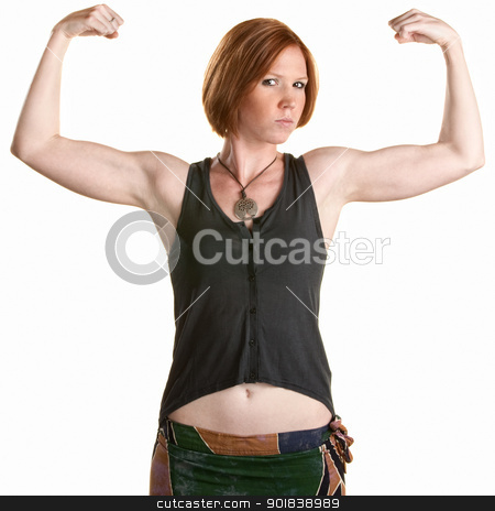 Serious Woman Flexing Muscles stock photo, Serious Caucasian woman flexing biceps over white background by Scott Griessel