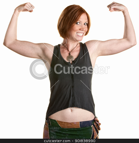 Smiling Woman with Muscles stock photo, Happy woman with smile and flexing bicep muscles by Scott Griessel