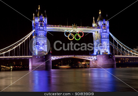 Tower Bridge and Olympic Rings stock photo, Tower Bridge during the London 2012 Olympic Games. by Chris Dorney