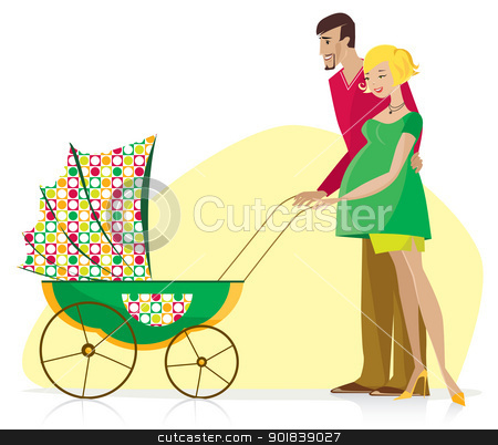 Happy Couple with Baby Stroller stock vector clipart, Happy couple enjoy newborn in the baby stroller by Vanda Grigorovic