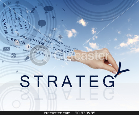 Business concept with words stock photo, Business concept with hands and business words made up from letters by Sergey Nivens
