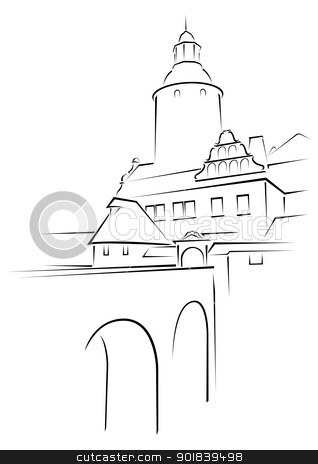 Medieval palace stock vector clipart, Old castle Czocha in Poland on sketch by Oxygen64