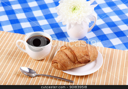 Continental breakfast stock photo, Continental breakfast with croisant and black coffee by Sergey Nivens
