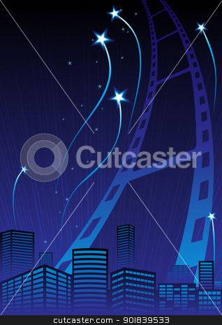 Grand Premiere stock vector clipart, Poster with film and fireworks over city by Oxygen64