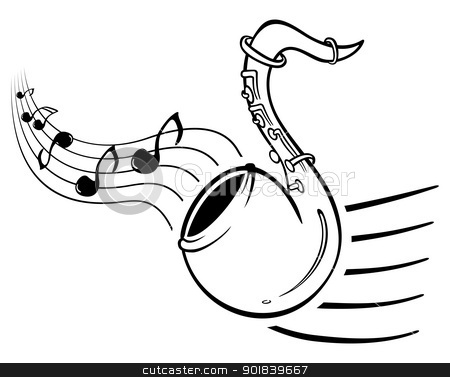 Sax music stock vector clipart, Design with music notes and sax on illustration by Oxygen64