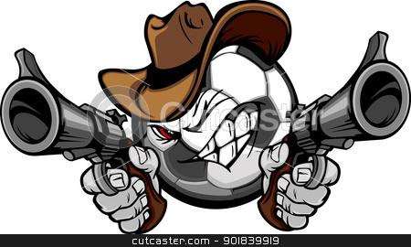 Cowboy Soccer Cartoon Shootout stock vector clipart, Soccer Ball Cartoon Face with Cowboy Hat Holding and Aiming Guns  by chromaco
