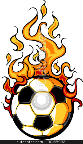 Soccer Flaming Ball Vector Cartoon stock vector clipart, Flaming Soccer Ball Vector Cartoon burning with Fire Flames by chromaco