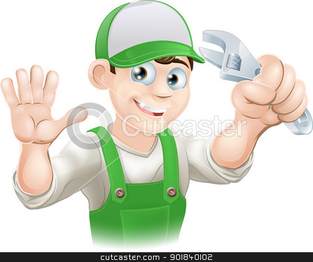 Plumber or mechanic with spanner stock vector clipart, Graphic of smiling plumber or mechanic in overalls holding spanner and waving by Christos Georghiou