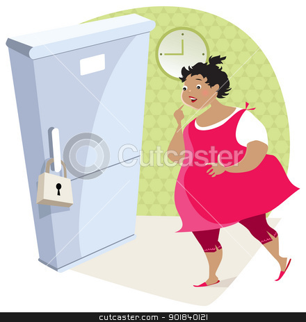 Dieting lady and fridge stock vector clipart, Dramatic moment - lovely night meal is locked by Vanda Grigorovic
