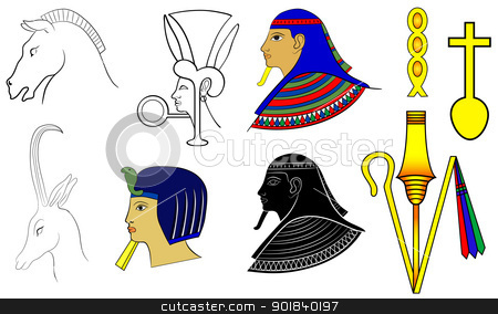 Egyptian motives stock vector clipart, Various Egyptian motuves and ornaments - vector by Siloto