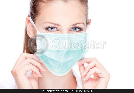 nursing stock photo, Blue eyes female nurse or doctor by iMarin
