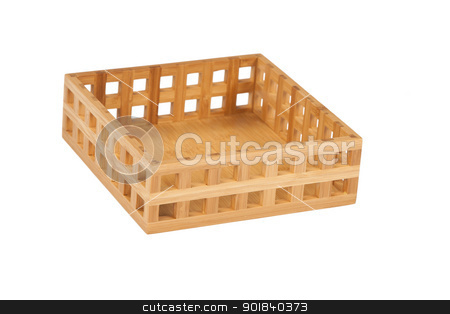 bamboo basket stock photo, Small bamboo wooden basket on white background  by caimacanul