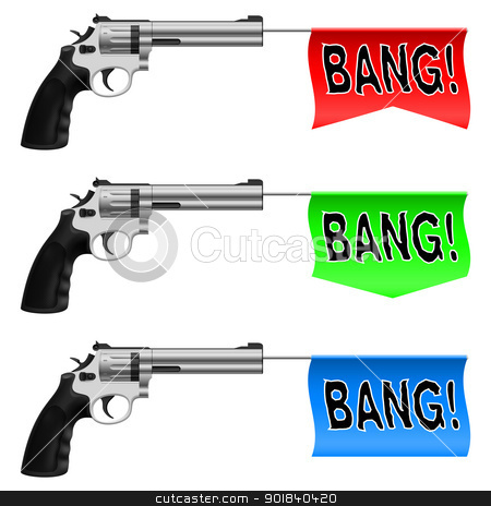 Guns with Bang Flags stock photo, Guns with Bang Flags. Illustration on white background by dvarg